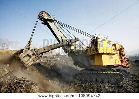 Mine excavator at work