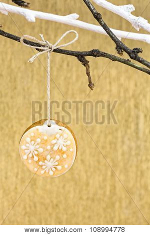 Christmas Decoration With Gingerbread Over Gold Background