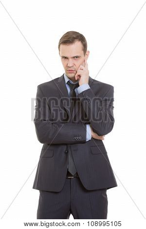 gestures distrust lies. body language. man in business suit isolated on white background. pulls the