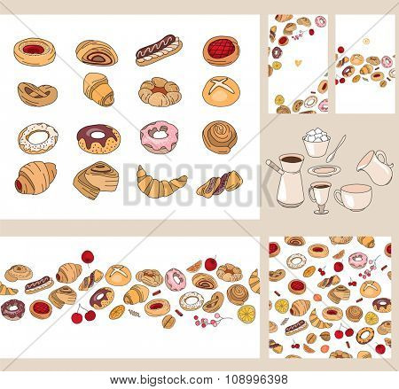 Set with different  pastry. Different taste and color.