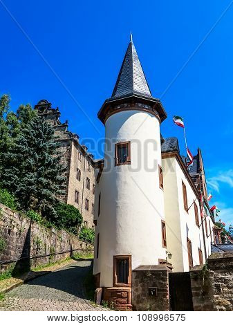 Picturesque architecture below the castle in Marburg, Germany