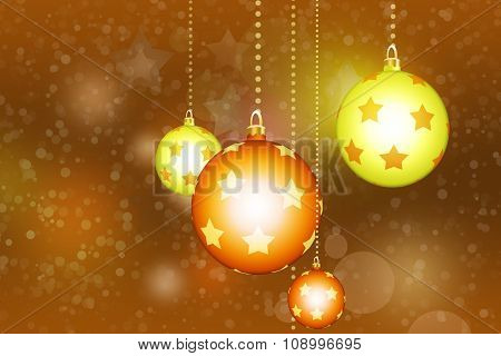 Horizontal yellow digital background with white snowflakes and glass balls