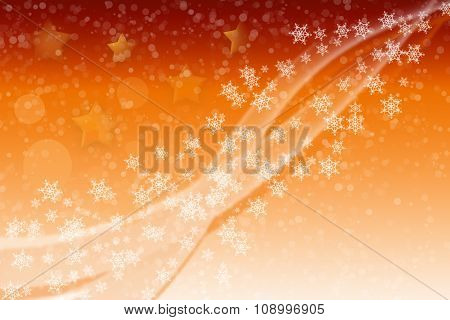 Horizontal bronze digital background with white snowflakes and motion effect