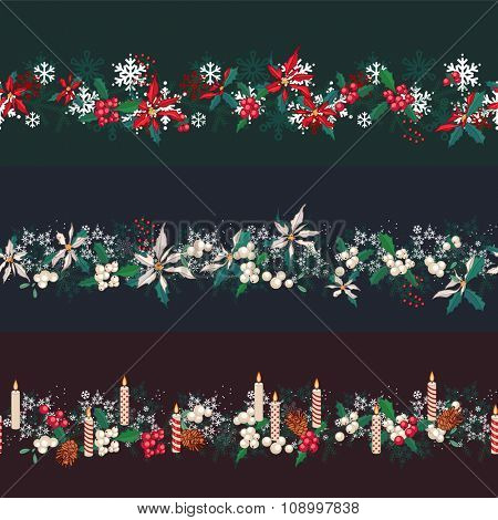 Endless pattern brushes with Christmas decorations. For season design, announcements, postcards, posters.
