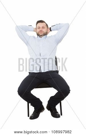 man sitting on chair. open posture, greater influence. Isolated white background