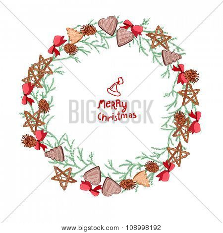 Round Christmas wreath with fir branches and cookies isolated on white.  For festive design, announcements, postcards, posters.