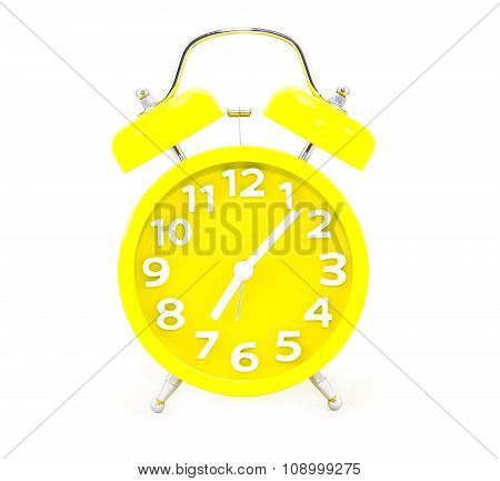 Yellow Alarm Clock Isolated On White
