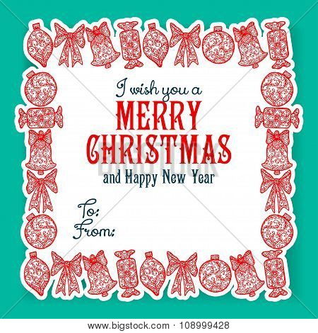 I wish you a Merry Christmas lettering. Congratulations card.