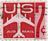 Us Air Mail Stamp Circa Vintage Ephemera