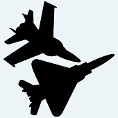 Постер, плакат: An F 18 jet fighters flying in the sky