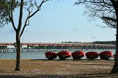stock photo of bribie  - a row of boats for hire on bribie island east coast australia - JPG