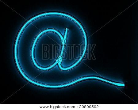 glowing e-mail sign