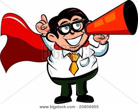 Cartoon superhero business man using a megaphone