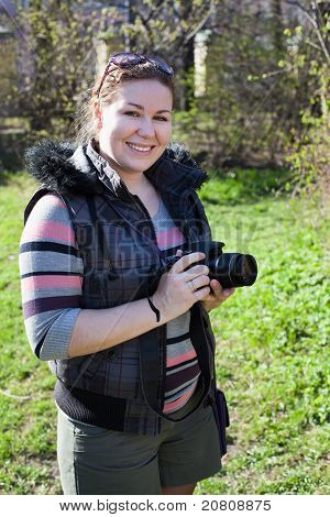 Beautiful Woman A Photograph With Camera.