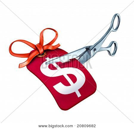 Scissors Cutting A Price Tag For A New Sale