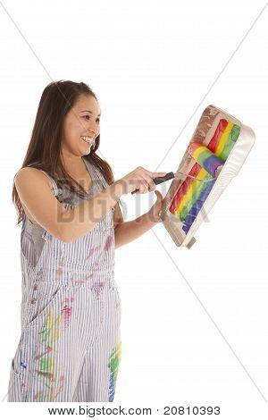 Постер, плакат: Женщина живопись Радуга ролик, холст на подрамнике