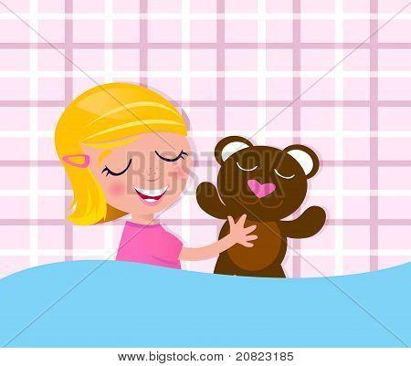 Sweet Dreams: Sleeping Little Child With Teddy Bear.