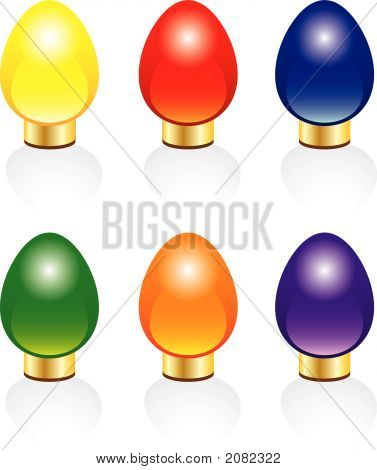 Six Bright And Colorful Vector Christmas Lights