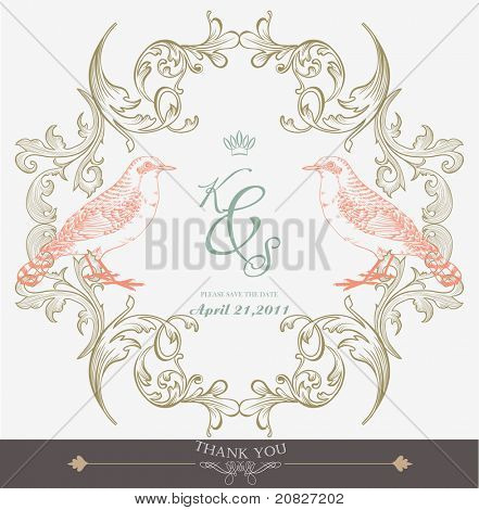 vintage wedding card with pair of birds