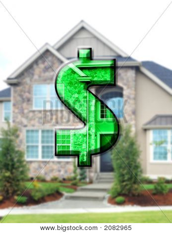 Dollar Sign And House