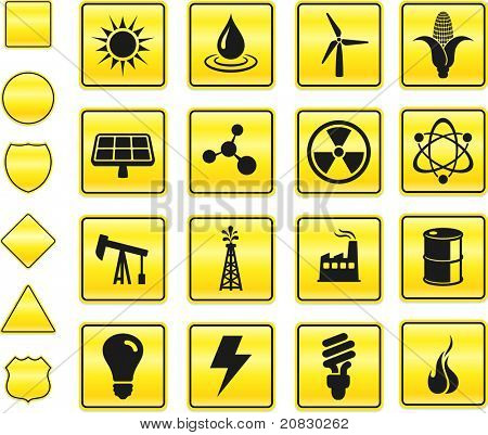 Energy Icon on Yellow Sign Button Collection Original Illustration