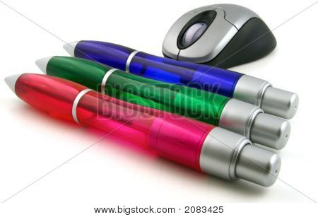 Rgb Pens And Mouse White Background