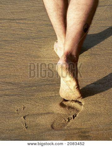 Feet Walking In Sand
