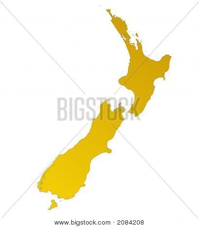 Orange Gradient Map Of New Zealand