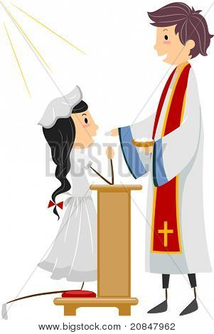 Illustration of a Girl Going Through Communion