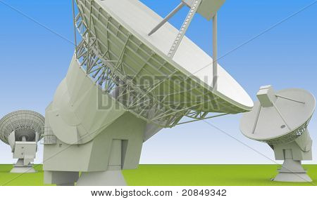 Large radio antenna of the very large array faces up into ? sky