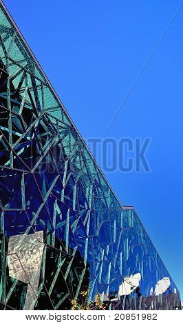 Glass sided building