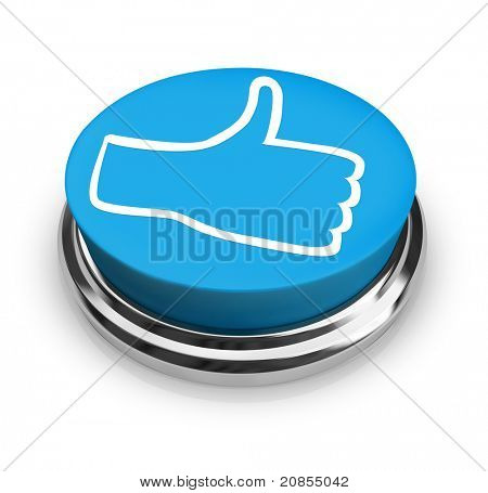 A round blue button with a thumbs up icon illustrating a positive review within a social network or other internet or public forum