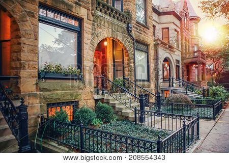 Chicago row house neighborhood at