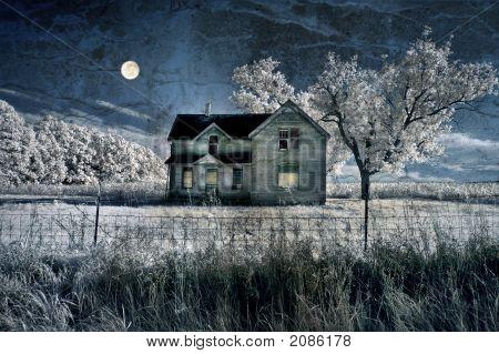 Haunted Farmhouse And Full Moon Grunge