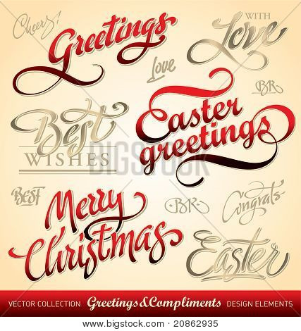 holiday greeting headlines set (vector)