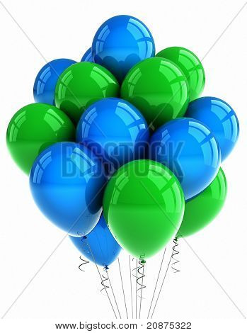 Green And Blue Party Balloons