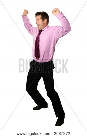 Young Businessman Celebrating Both Arms Up In Air