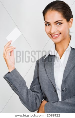 Woman Holding A Card