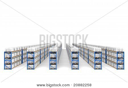 Shelves X 60. Top Perspective View, Shadows. Part Of A Blue Warehouse And Logistics Serie.