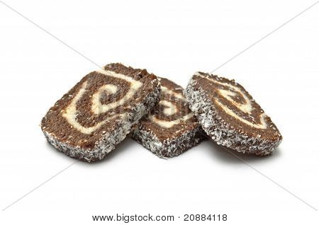 Three Coco Roll Slices Piled