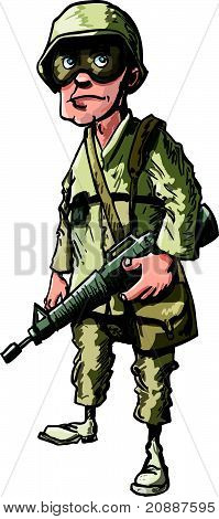 Cartoon american soldier