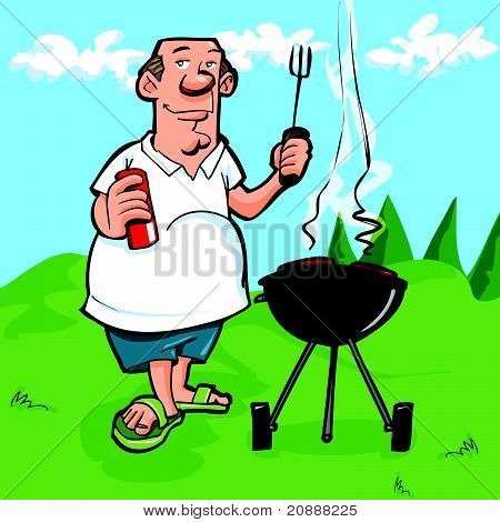 Cartoon man having a BBQ