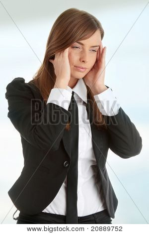 Young woman suffering a headache