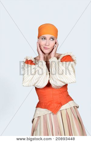 woman wearing bohemian clothes wondering