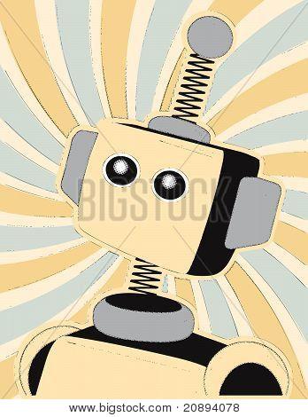Robot Halftone Comic Style