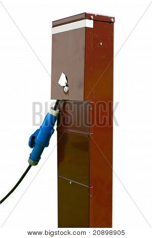 Brown Electricity Box With Blue Power Cable