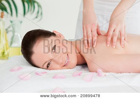Redhead Having A Massage In A Spa