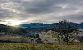 Sunrise Over The Mountains With Snow Tops poster