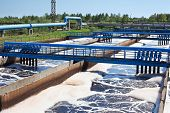 stock photo of wastewater  - Water recycling and cleaning on sewage treatment station - JPG