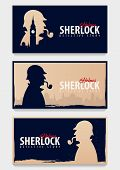 Set Of Sherlock Holmes Banners. Detective Illustration. Illustration With Sherlock Holmes. Baker Str poster